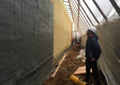 Теплоизоляция и гидроизоляция цокольного этажа (ЖК «Триумфальный»)